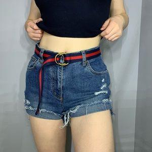 Super high rise distressed jean shorts (w/o belt)